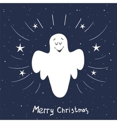 Christmas card with singing angel Hand drawn vector image vector image