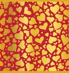 Golden red hearts seamless pattern design vector