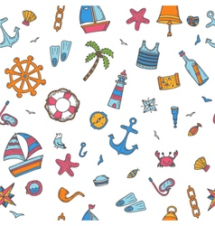 Hand drawn color seamless pattern with nautical vector
