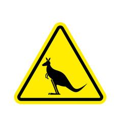 kangaroo warning sign wallaby hazard attention vector image