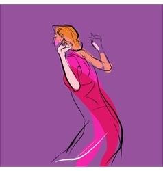 Woman dancing music vector image vector image