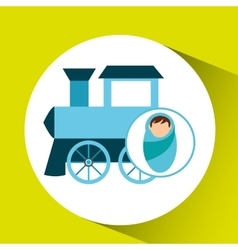 boy newborn wrap train toy design vector image