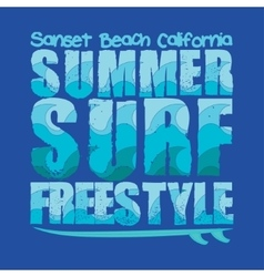 California surfing T-shirt vector image