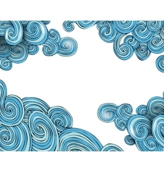 Curly waves frame vector image