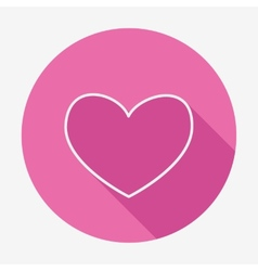 Flat style heart icon with long shadow vector image