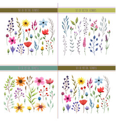 Floral watercolor collection vector