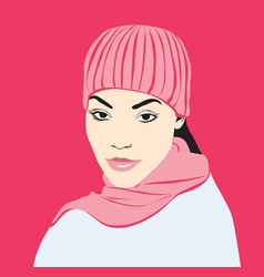 Girl in pink hat and scarf vector