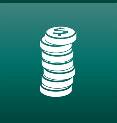 money silhouette icon on green background coins vector image