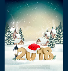new year holiday background with 2018 and santa vector image vector image
