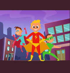urban background with superhero kids in action vector image