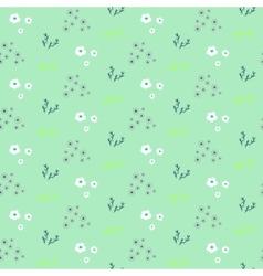 Wild flower pastel mint spring field seamless vector image