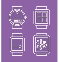 Wrist Watch Phone flat white line drawn icon vector image vector image