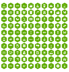 100 global warming icons hexagon green vector
