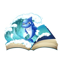 A book with a high wave and a big shark vector