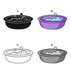 Baby bath icon in cartoon style isolated on white vector