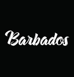 Barbados text design calligraphy vector
