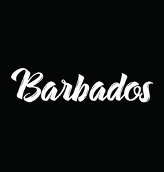 barbados text design calligraphy vector image