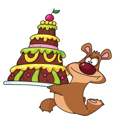 bear and cake vector image