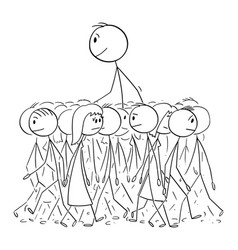 Big man walking in average crowd individuality vector