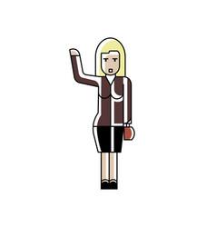 blonde woman with ladies handbag waving hand vector image
