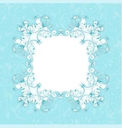 Blue floral decorative frame filigree branch vector