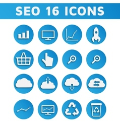 Blue SEO Business Icons Set with Computer Graph vector