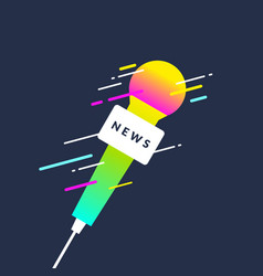 Bright poster with the news of a microphone vector