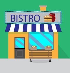 Building bistro cartoon style vector