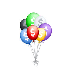bunch of different colored balloons with dollar vector image