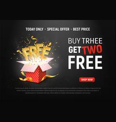 Buy 3 get 2 free ad special vector