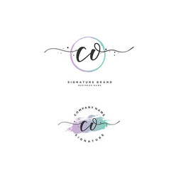 C o co initial letter handwriting and signature vector