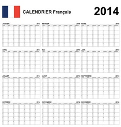 Calendar 2014 French Type 22 vector image