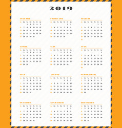 Calendar for 2019 year week starts sunday vector