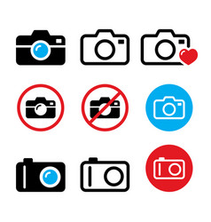 Camera taking photos no camera sign icons vector