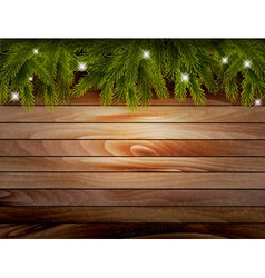 Christmas wooden background with branches and vector