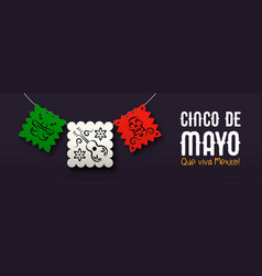 cinco de mayo banner mexican paper art flags vector image