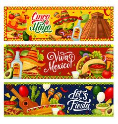 cinco de mayo party guitar sombrero mexican food vector image