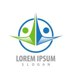 circle human figures character logo concept vector image