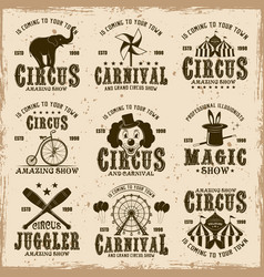 circus set brown emblems labels badges vector image