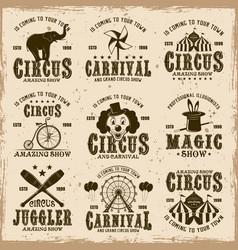 Circus set of brown emblems labels badges vector