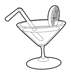 Cocktail icon outline style vector