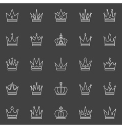Crown line icons vector image