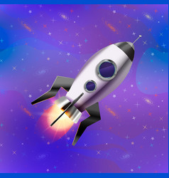 Cute cartoon space rocket on deep space background vector