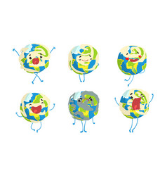 cute earth globe cartoon character collection vector image