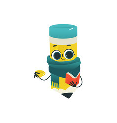 cute pencil cartoon character with scarf and cup vector image