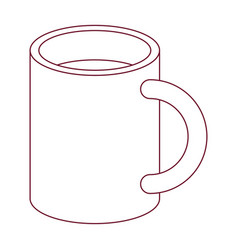 dark red line contour of mug vector image