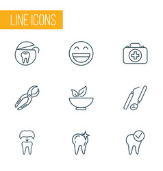 Dental icons line style set with healthy food vector