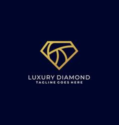 diamond luxury line art template design vector image