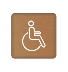 Disabled human with disabilities icon on wooden vector