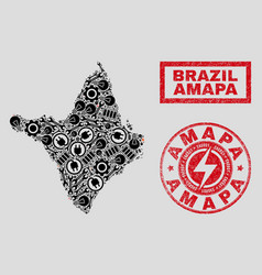 Electrical mosaic amapa state map and snow and vector